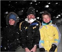 Night time in the snow: Gemma Potaka, Nicolas Maarhuis, Benjamin Dunn