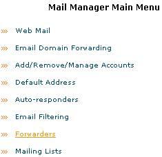 Mail Manager Main Menu