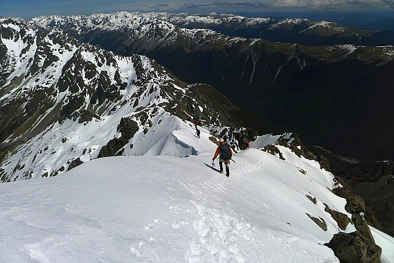 Starting descent of the south west ridge