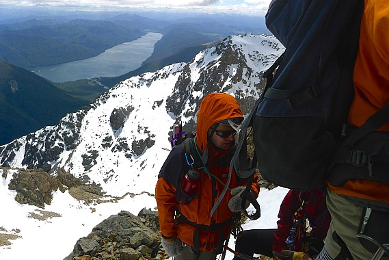 At the first of two 60m abseils on the SW ridge