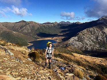 Micheal with Boulder lake in the background. Boulder Lake hut is just behind his left shoulder