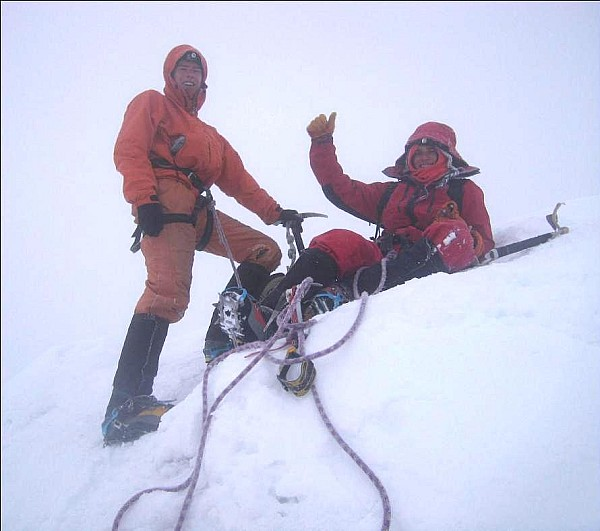 Arran Whiteford and Karim Elbarche on the summit of Huayna Posti.  Photo: �Jesus� the mountain guide